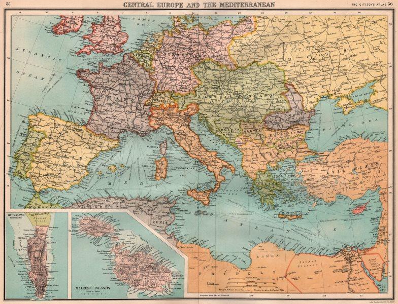 Associate Product SOUTHERN EUROPE & MEDITERRANEAN. inset Gibraltar & Malta. BARTHOLOMEW 1898 map
