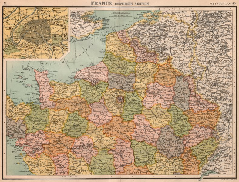 Associate Product FRANCE NORTH & PARIS. inset Paris showing fortifications. BARTHOLOMEW 1898 map