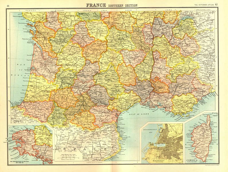 Associate Product FRANCE SOUTH. + Brittany. Inset Marseilles plan. BARTHOLOMEW 1898 old map