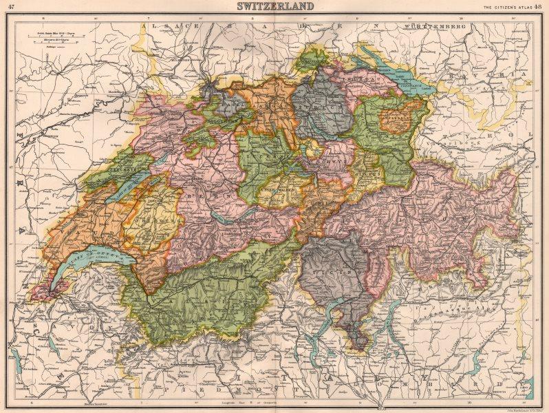 Associate Product SWITZERLAND. Showing cantons & railways. BARTHOLOMEW 1898 old antique map