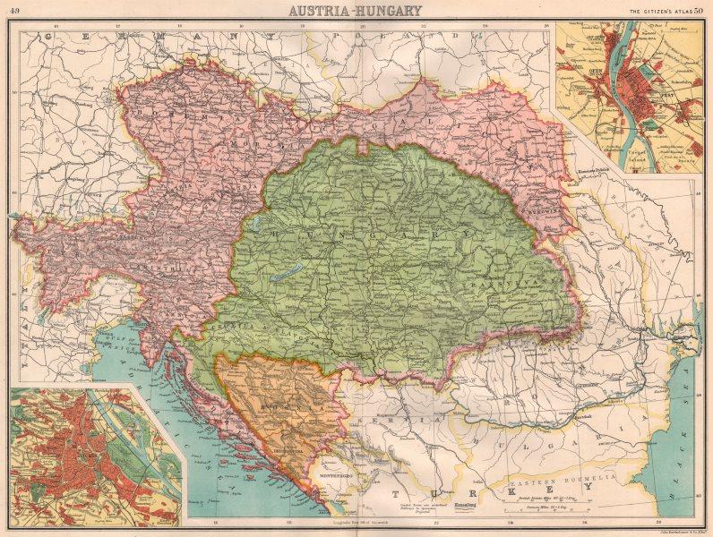 Associate Product AUSTRIA-HUNGARY.Bosnia Galicia Bohemia.Vienna;Offen(Buda).BARTHOLOMEW 1898 map