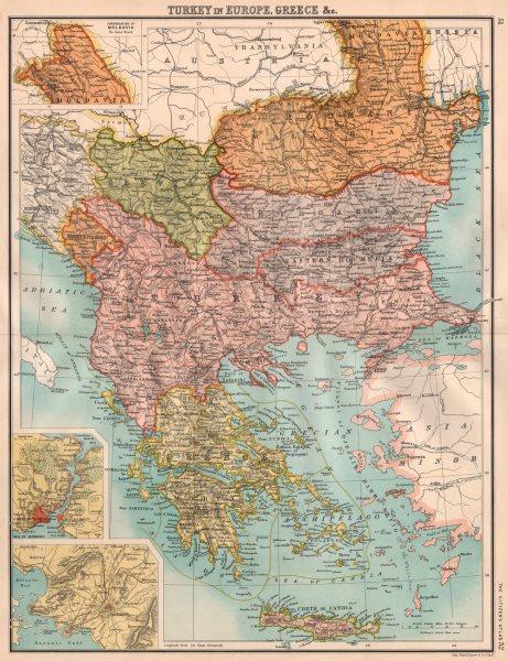 Associate Product BALKANS. Turkey In Europe & Greece. Wallachia Eastern Roumelia 1898 old map