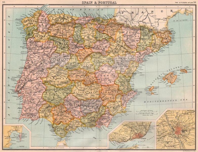 Associate Product IBERIA. Spain & Portugal; inset Gibraltar; Lisbon; Madrid. BARTHOLOMEW 1898 map