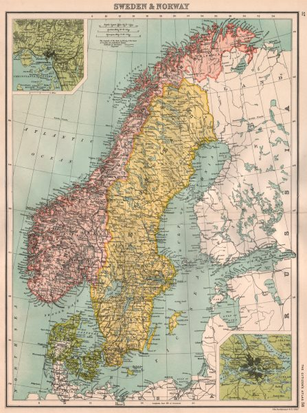 Associate Product SCANDINAVIA.Sweden Norway Denmark.Inset Christiania(Oslo);Stockholm 1898 map