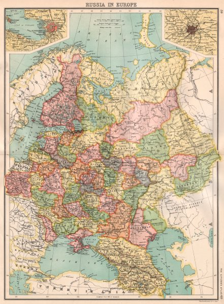 Associate Product RUSSIA IN EUROPE. Inset St. Petersburg; Moscow Москва. BARTHOLOMEW 1898 map