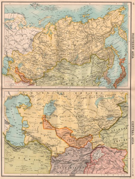 Associate Product NORTH & CENTRAL ASIA. Khiva Bukhara Turkistan. Unresolved borders 1898 old map