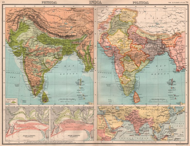 Associate Product BRITISH INDIA PHYSICAL & POLITICAL. Indian Ocean currents. BARTHOLOMEW 1898 map