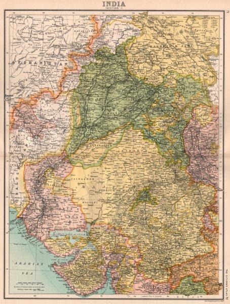 Associate Product BRITISH INDIA NORTH WEST. Rajputana Gujarat Punjab. BARTHOLOMEW 1898 old map