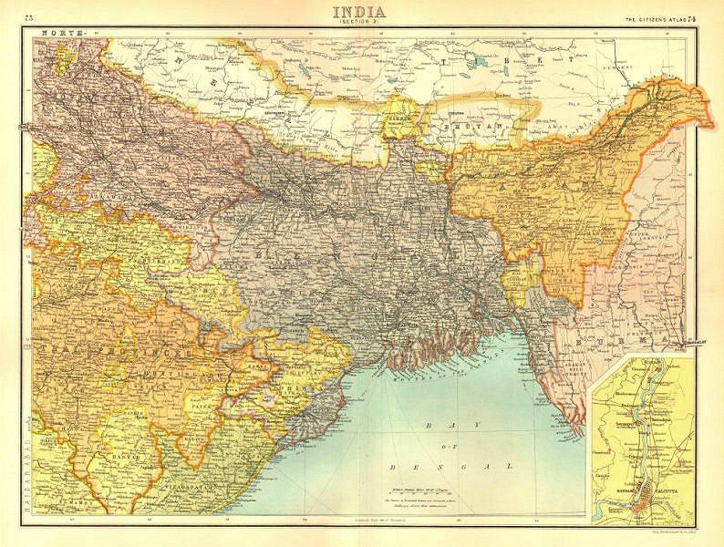 Associate Product BRITISH INDIA NORTH EAST.Bengal Assam Orissa Sikkim Bhutan.BARTHOLOMEW 1898 map