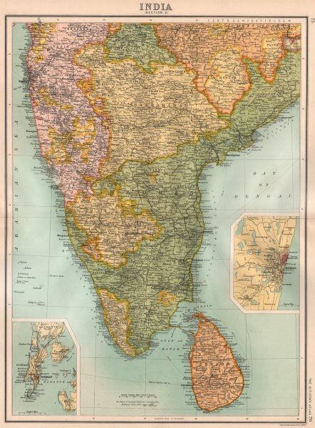 Associate Product BRITISH INDIA SOUTH.Madras(Chennai)Mysore Hyderabad Ceylon(Sri Lanka) 1898 map