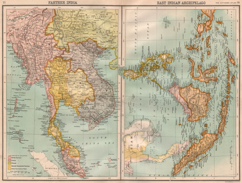 """Associate Product INDOCHINA/EAST INDIES. Shows """"Siamese (Thai) Guaranteed Territory"""" 1898 map"""