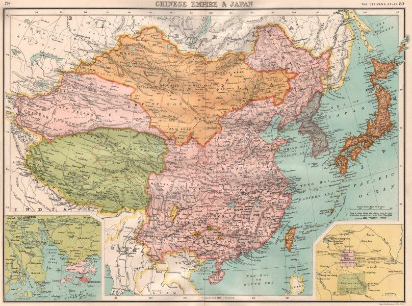 Associate Product CHINESE EMPIRE & JAPAN. Tibet Turkistan Mongolia. Inset Hong Kong 1898 old map