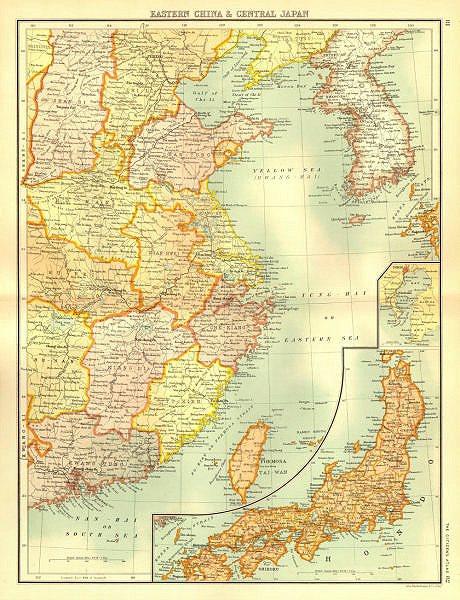 Associate Product EAST ASIA. Eastern China Central Japan Korea. BARTHOLOMEW 1898 old antique map