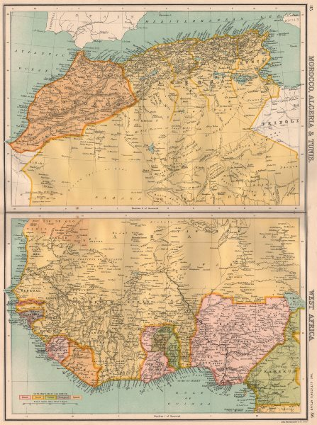 """Associate Product NORTH & COLONIAL WEST AFRICA. Nigeria marked as """"Royal Niger Company"""" 1898 map"""