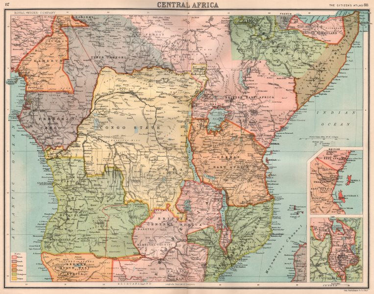 Associate Product COLONIAL CENTRAL AFRICA. Congo German East Africa Rhodesia. BARTHOLOMEW 1898 map