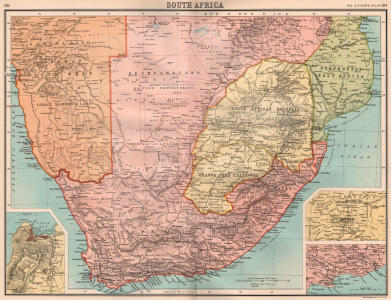Associate Product SOUTHERN AFRICA.South Africa Bechuanaland Orange Free State.BARTHOLOMEW 1898 map