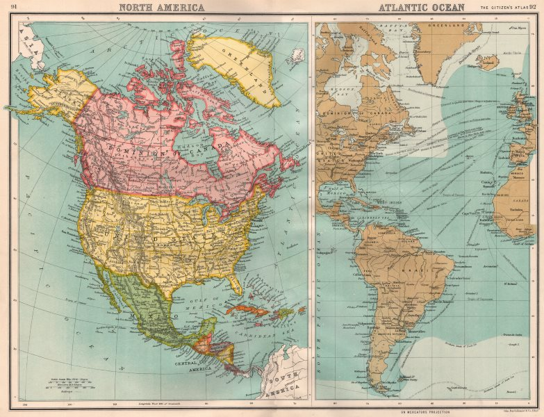 Associate Product NORTH AMERICA/ATLANTIC OCEAN. Shipping routes. BARTHOLOMEW 1898 old map