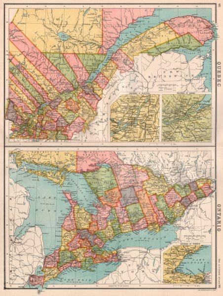 Associate Product QUEBEC/ONTARIO. inset Montreal Québec City Toronto. BARTHOLOMEW 1898 old map
