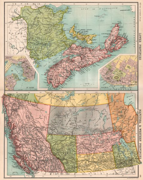Associate Product CANADA MARITIME WEST. NB NS PE BC. St. John Halifax. BARTHOLOMEW 1898 old map
