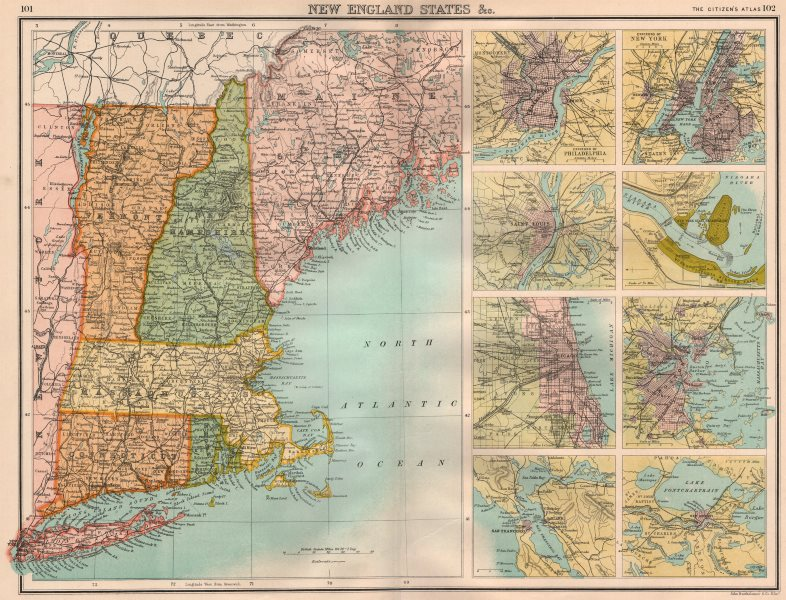 Associate Product NEW ENGLAND/US CITIES. ME VT MA RI CT. Philly SF NYC StL Chicago Boston 1898 map