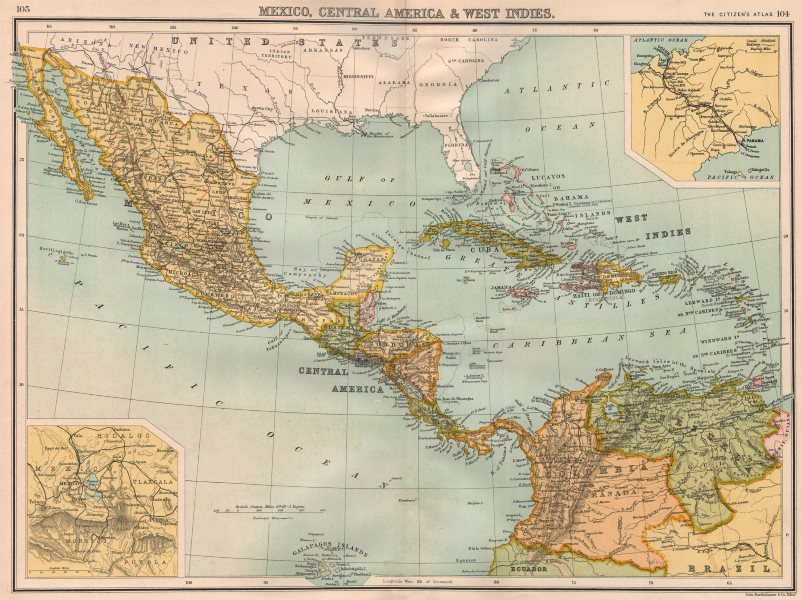 Associate Product CENTRAL AMERICA. Mexico & Caribbean. Panama canal. BARTHOLOMEW 1898 old map
