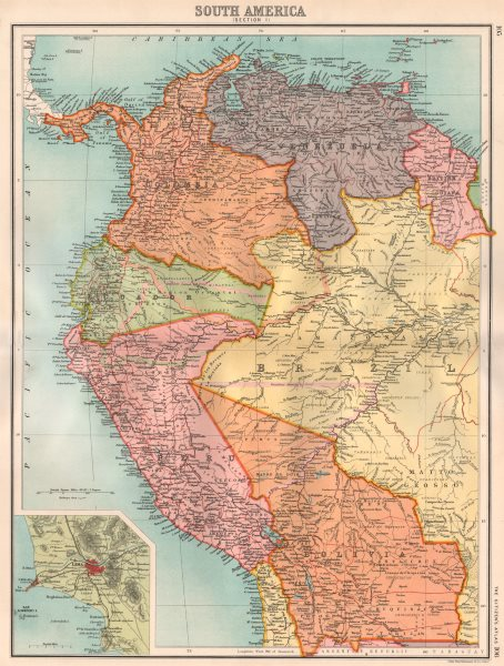 Associate Product SOUTH AMERICA NW. Shows Colombian & Peruvian claims on Ecuador. Lima 1898 map