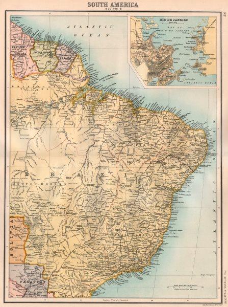 Associate Product SOUTH AMERICA NE. Brazil. Guyana. inset Rio de Janeiro. BARTHOLOMEW 1898 map