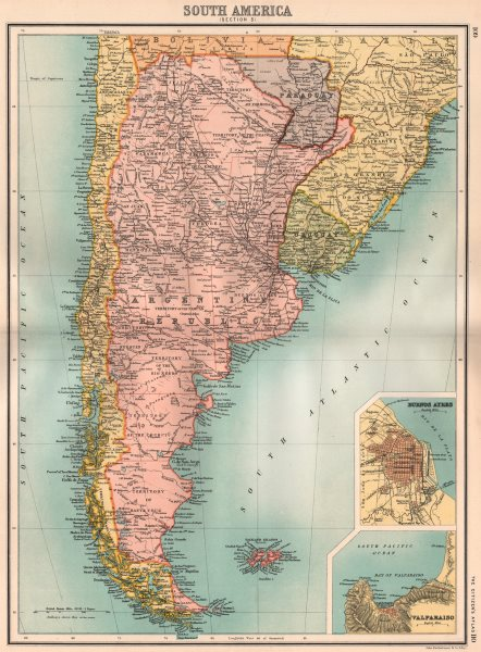 Associate Product ARGENTINA. Inset Buenos Aires. BARTHOLOMEW 1898 old antique map plan chart
