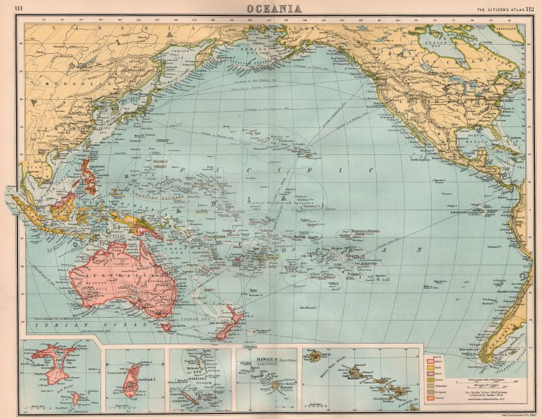 Associate Product PACIFIC OCEAN COLONIAL. British Dutch French German Portuguese Spanish 1898 map