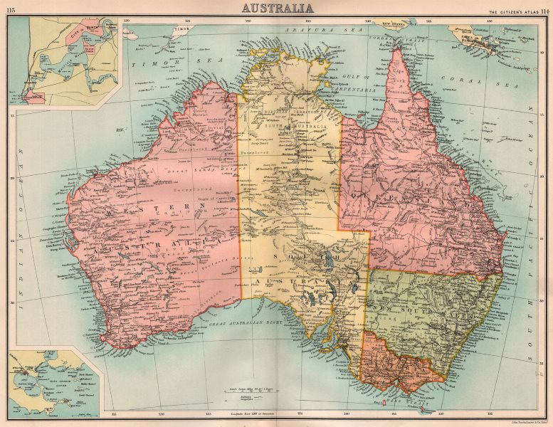 Associate Product AUSTRALIA. Showing states. south Northern Territory. BARTHOLOMEW 1898 old map