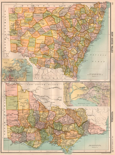 Associate Product NEW SOUTH WALES & VICTORIA.Counties.Inset Melbourne Sydney.BARTHOLOMEW 1898 map
