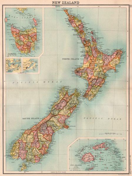 Associate Product NEW ZEALAND & TASMANIA.Showing counties.Inset Fiji Islands.BARTHOLOMEW 1898 map