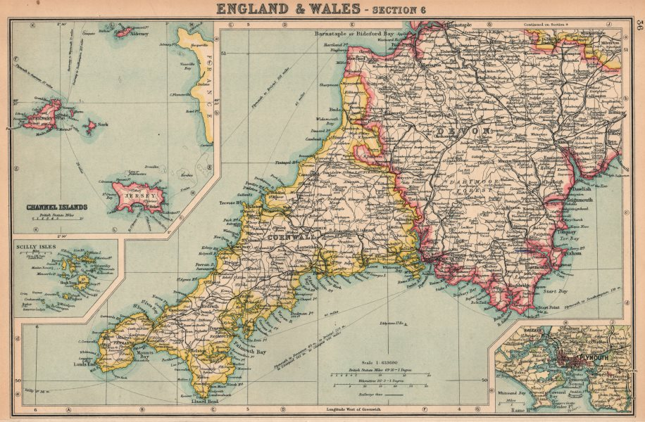 Map Of England South.Details About Devon And Cornwall England South West Inset Plymouth Bartholomew 1924 Map