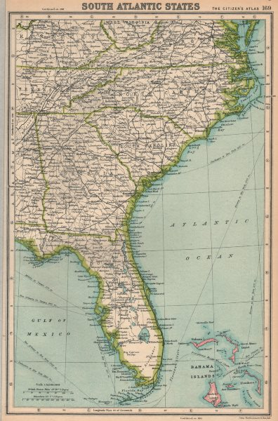 Details about SOUTHEASTERN USA. Florida Georgia North & South Carolina.  BARTHOLOMEW 1924 map