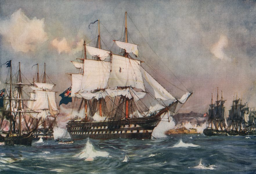 """ROYAL NAVY. Shelling St. Jean D'Acre. """"Powerful"""" Battleship. Launched 1826 1901"""