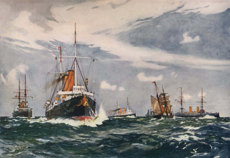 Associate Product ROYAL NAVY. Steam Training Squadron 1900. Minerva St. George Cambrian Juno 1901