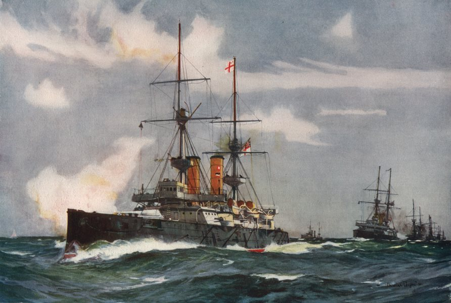 """Associate Product ROYAL NAVY. """"Revenge"""" leading the Lee Line of the Reserve Squadron 1901 1901"""