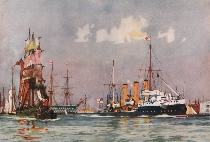 """Associate Product ROYAL NAVY. """"Speedy"""" Gunboat Leaving Portsmouth. Launched Chiswick 1893 1901"""