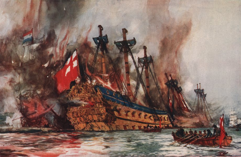 """Associate Product ROYAL NAVY. Burning of the """"London"""" by the Dutch. Launched Deptford 1666 1901"""