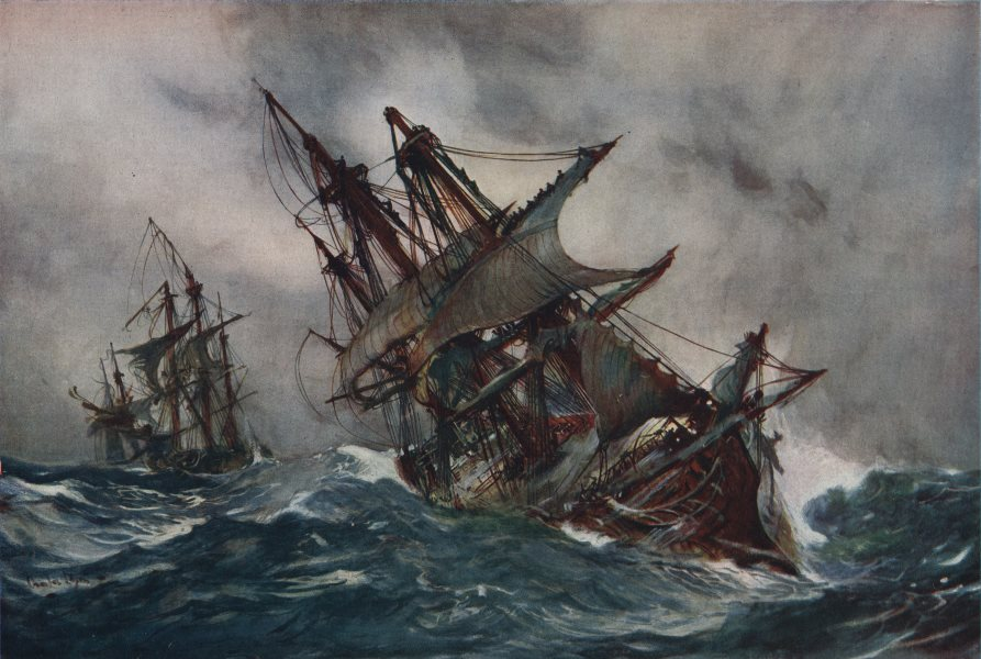 """Associate Product ROYAL NAVY. The """"Fame"""" with Foul-Weather Jack. Battleship. Launched 1759 1901"""