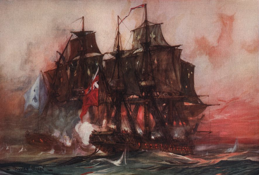 """Associate Product ROYAL NAVY. """"Saucy Arethusa's"""" duel with the French """"Belle Poule"""" 1778 1901"""