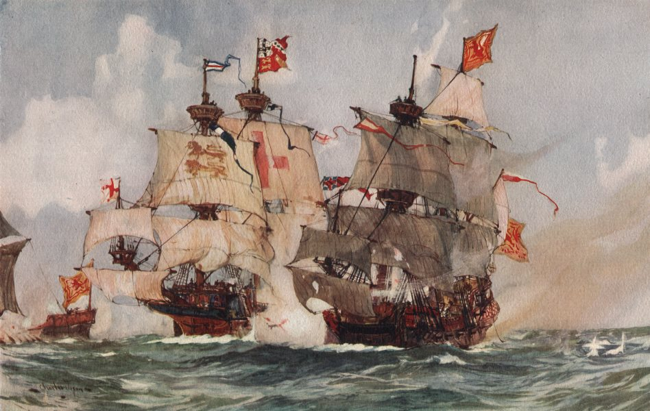 """Associate Product ROYAL NAVY. The Capture of the """"Lion"""" Scots' Man-o'-War, 1511 1901 old print"""