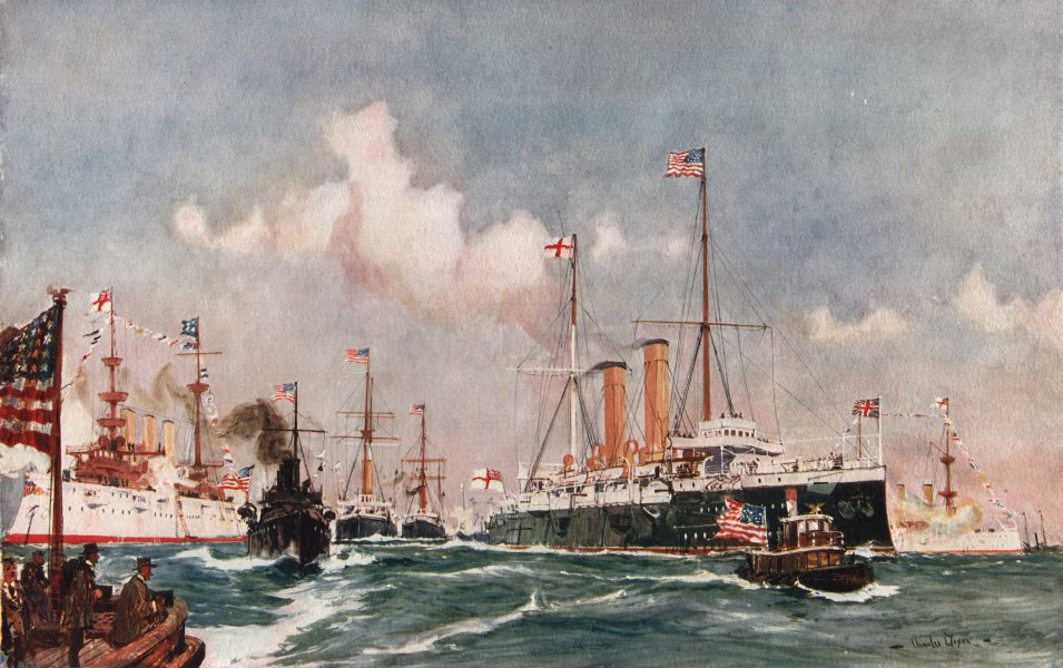 """Associate Product ROYAL NAVY. The Flagship """"Crescent"""" at Bar Harbor, Maine, 1900. Cruiser 1901"""