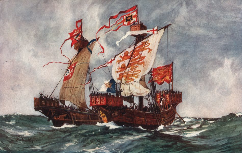 """Associate Product ROYAL NAVY. The First Battle of our first """"Queen"""". Launched 1225 1901 print"""