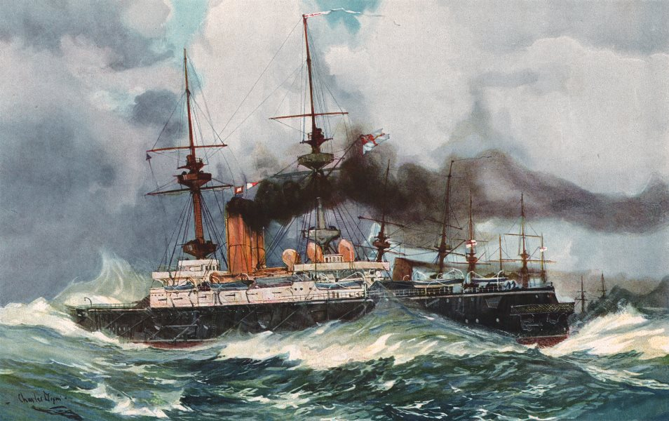 """Associate Product ROYAL NAVY. The """"Mars"""" in the Channel Squadron, 1901. Battleship 1901 print"""