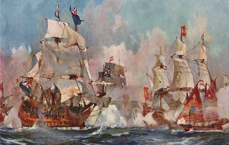 """Associate Product ROYAL NAVY. The """"Prince George"""" at the battle of Malaga, 1704. Battleship 1901"""