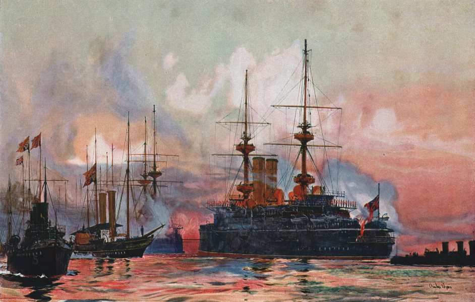 """Associate Product ROYAL NAVY. """"Prince George"""" at Spithead. Battleship. Launched 1895 1901 print"""