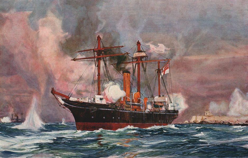 "Associate Product ROYAL NAVY. Sloop ""Condor"" bombarding Alexandria, 1882. Launched 1876 1901"