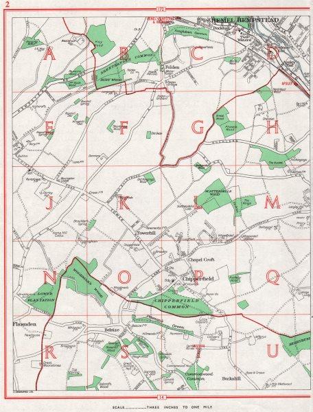 Associate Product HERTFORDSHIRE. Hemel Hempstead Chipperfield Flaunden Felden 1964 old map