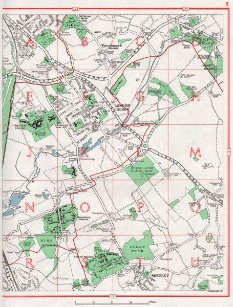 Associate Product LONDON COLNEY. St Albans Shenley Tyttenhanger Green Colney Heath. Herts 1964 map